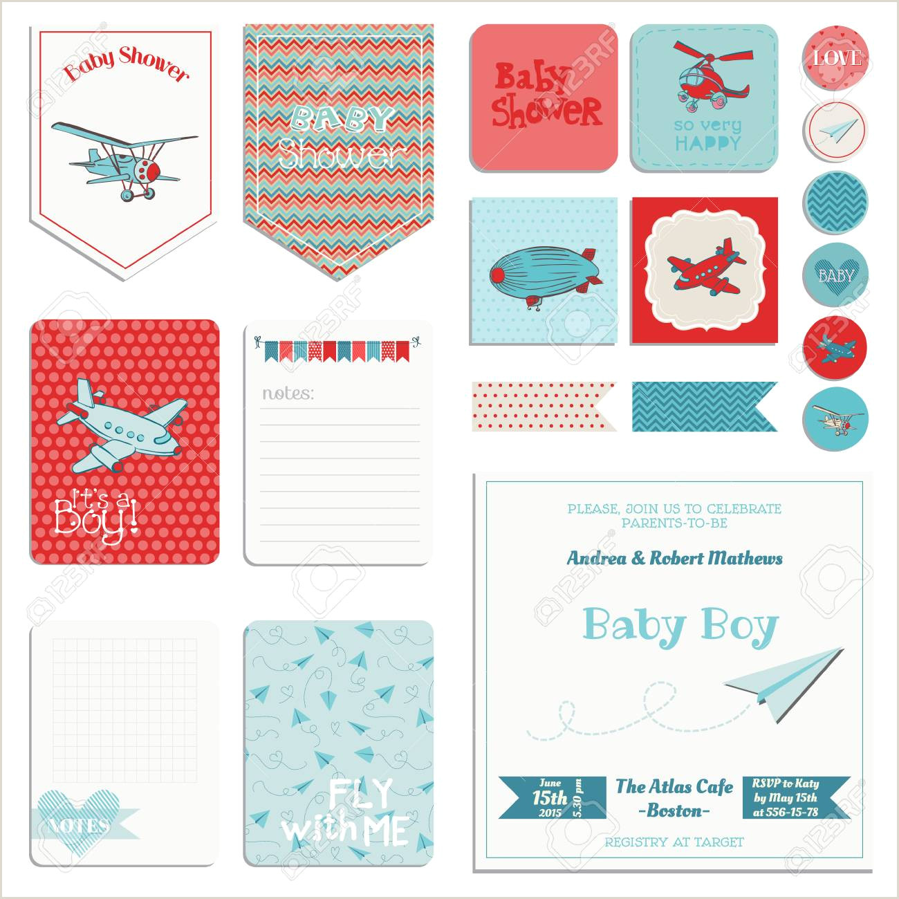 Baby Shower Boy Set Tags Banners Labels Cards in vector