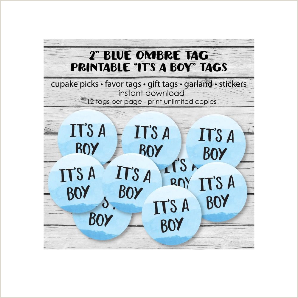 Printable Blue Ombre Circle Favor Tags It s A Boy tags for