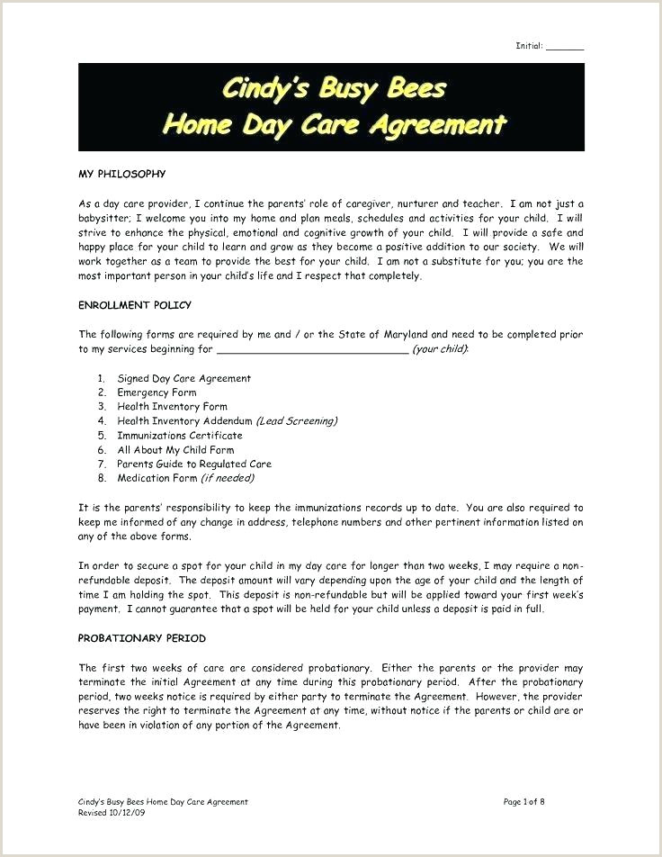 Free Sample Home Daycare Contracts Babysitting Agreement
