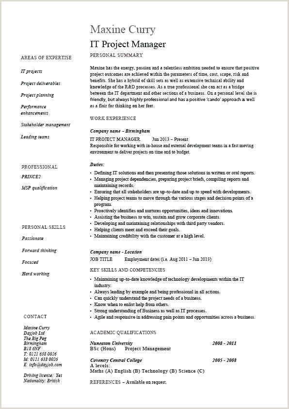 Bakery Manager Resume It Project Manager Resume Template