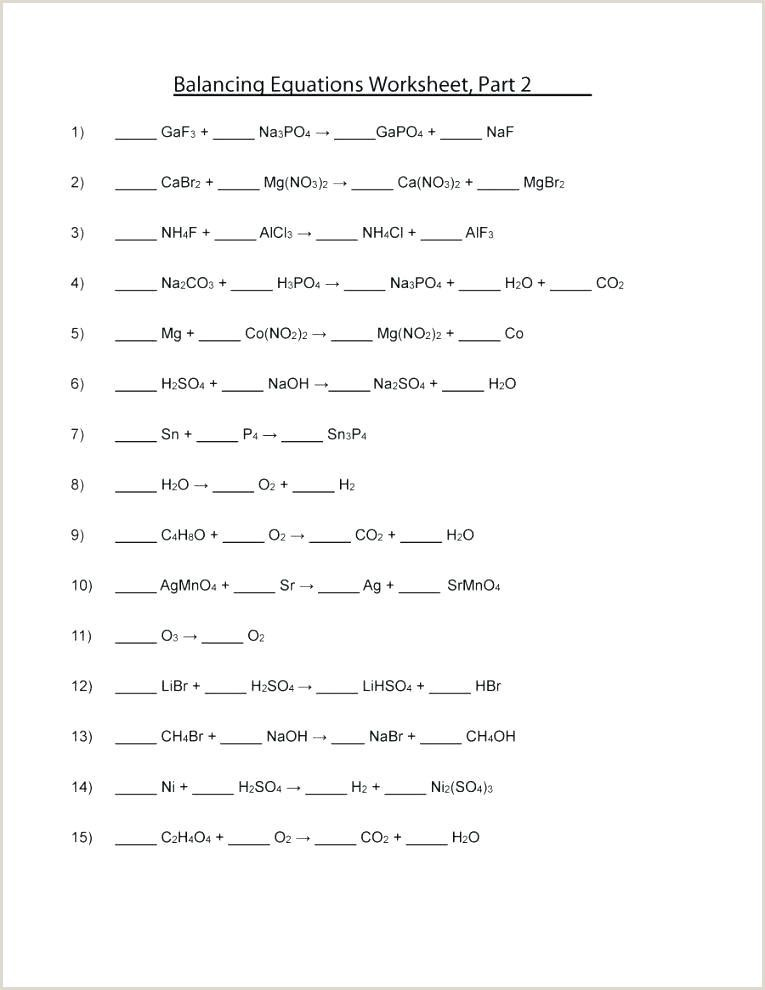 Types Chemical Reaction Worksheet Balancing