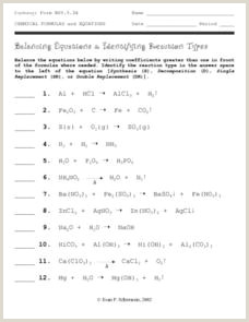 Balancing and Types Of Reactions Worksheet Types Of Reactions Lesson Plans & Worksheets