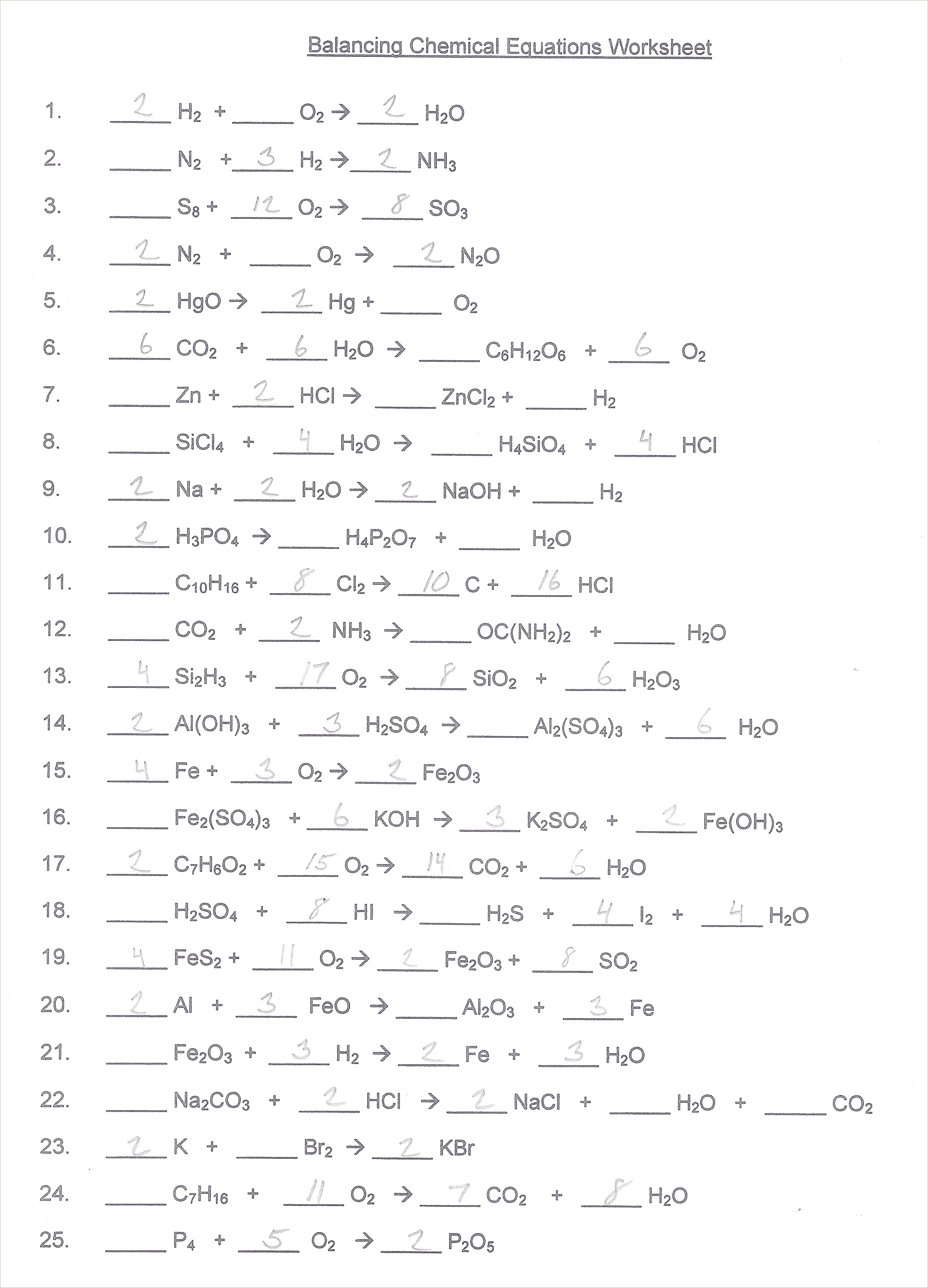 Types of reactions worksheet balance the following
