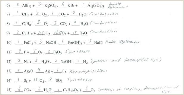 Balancing and Types Of Reactions Worksheet Types Of Reactions Worksheet Balance the Following