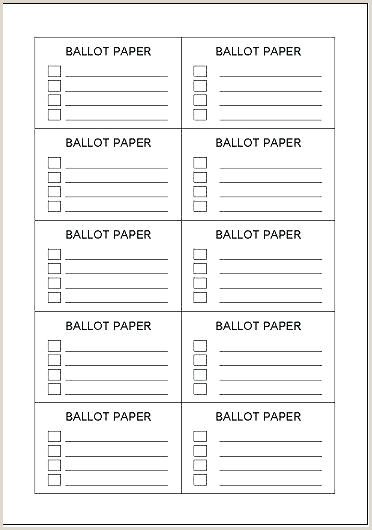 Ballot Template for Word Ballot Paper Template Ballot Template Site Image with Resume