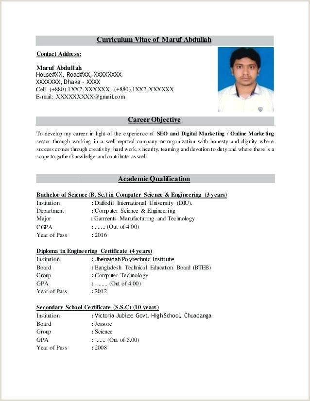 Bangladeshi Standard Cv format Free Cv format Template