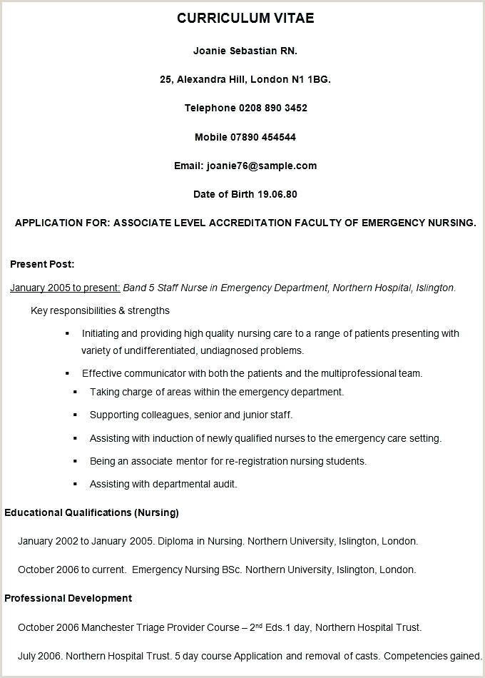 Template Standard Format Resume Sample Curriculum Vitae Cv
