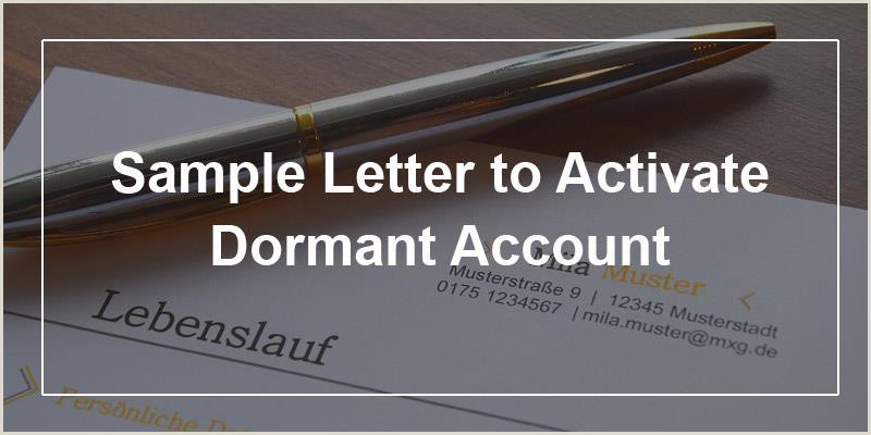 Bank Account Verification Letter Sample Sample Letter to Activate Dormant Account