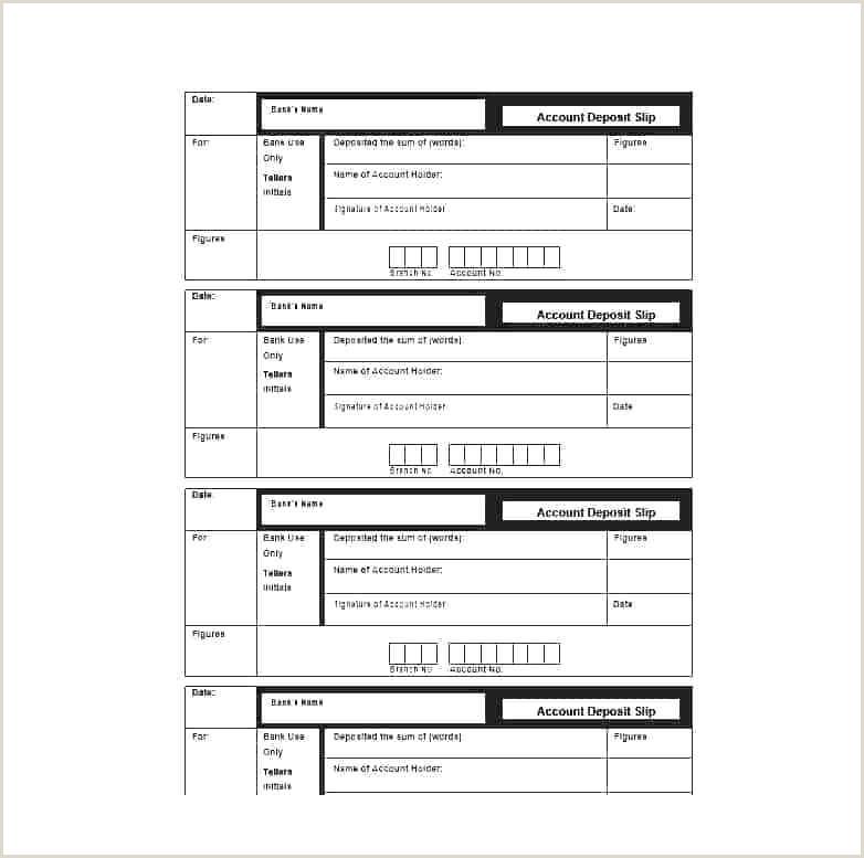 Withdrawal Slip Template Free Deposit Bank Sample Material