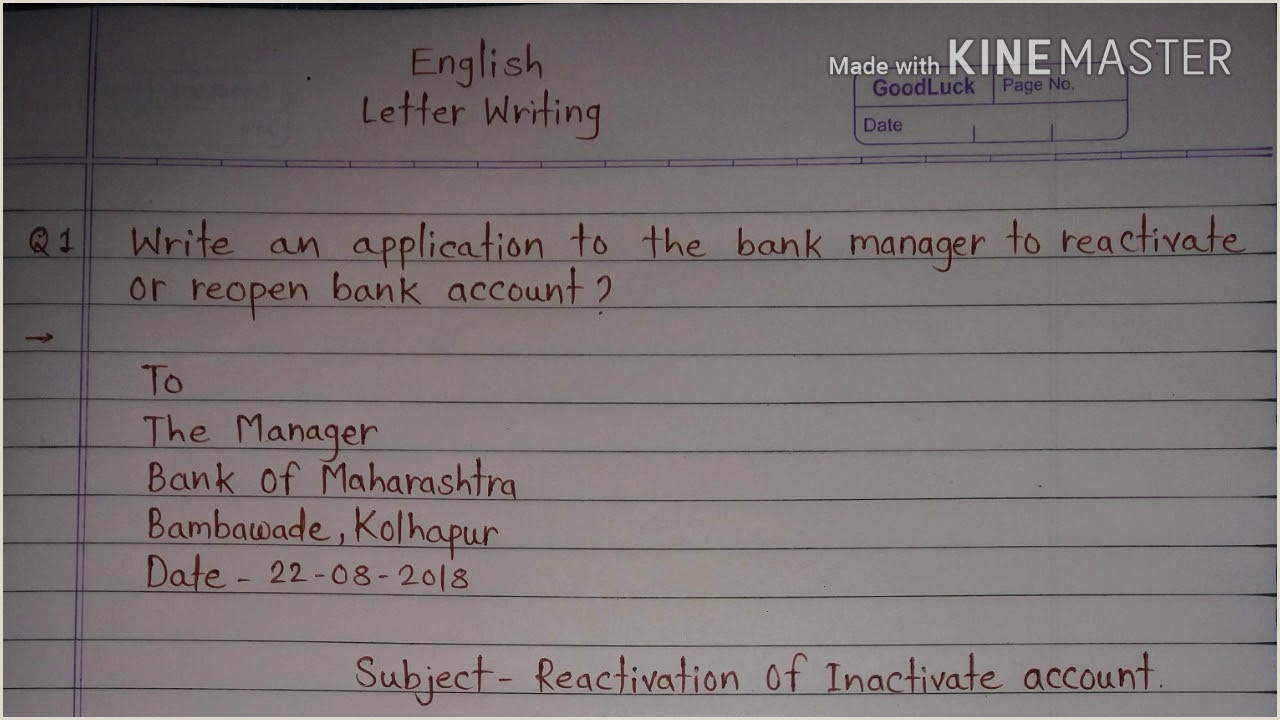 How To Write Application To The Bank Manager For Reactivate Reopen Bank Account