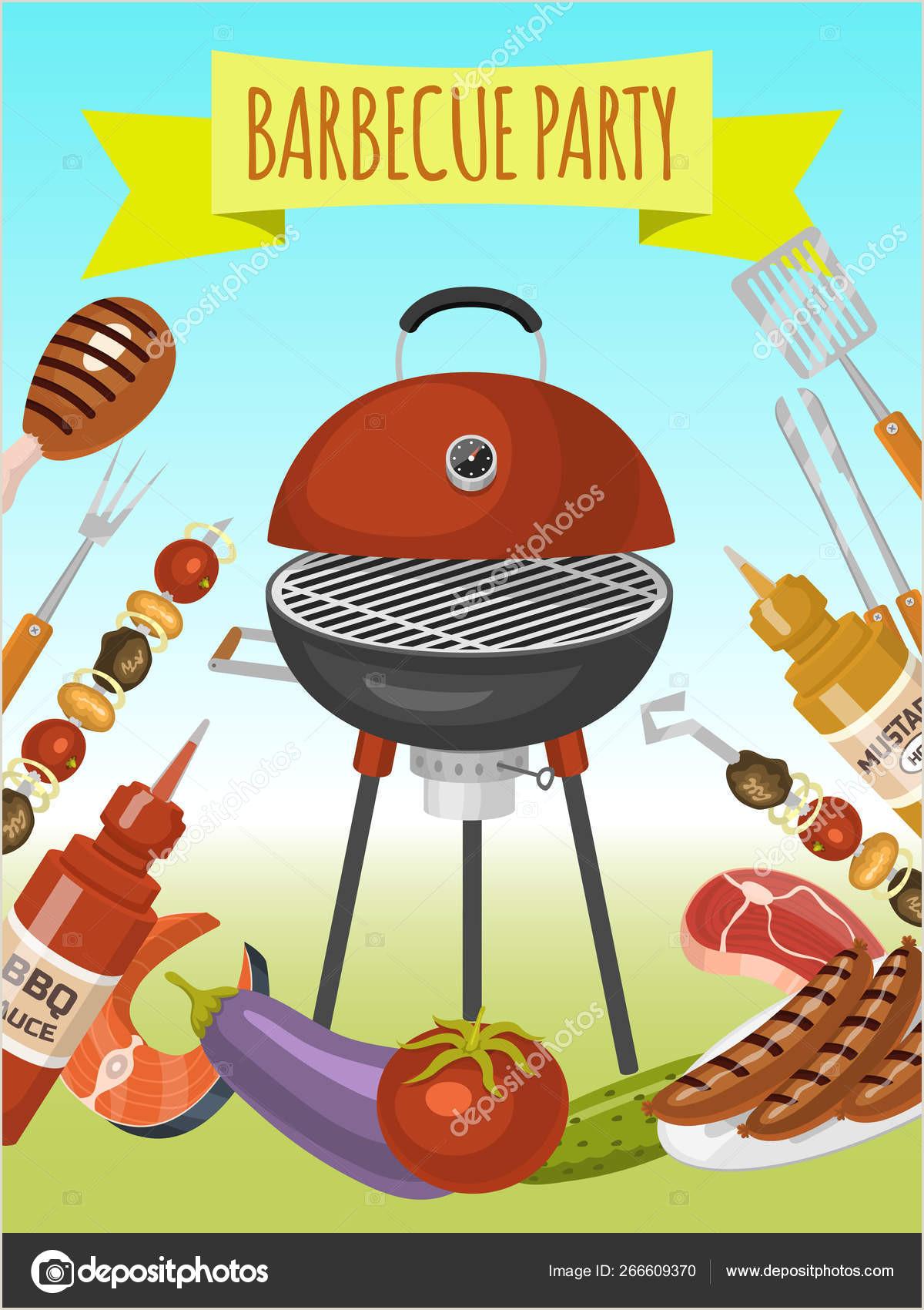 Barbeque Flyer Templates Free Barbeque Picnic Party Poster Meat Steak Roasted On Round Hot
