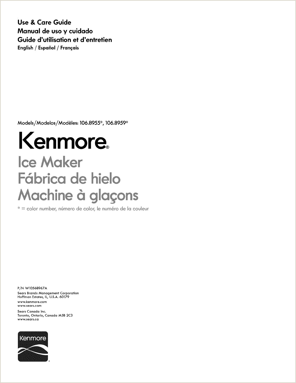Kenmore User Manual ICE CUBE MAKER Manuals And