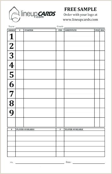 Softball Lineup Cards Templates Baseball Position Chart
