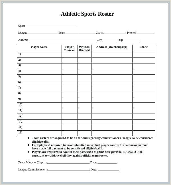 blank football depth chart template – chanceinc