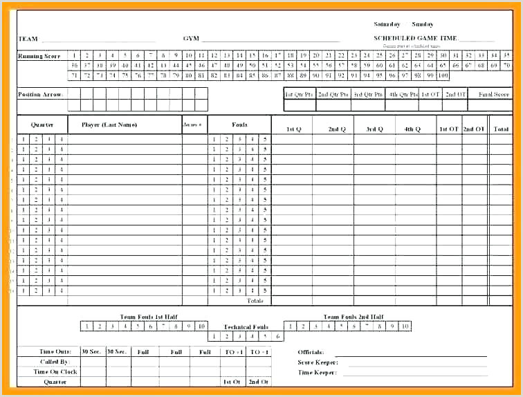 Basketball Play Sheets Templates Basketball Score Sheet Template Excel Roster Scorecard