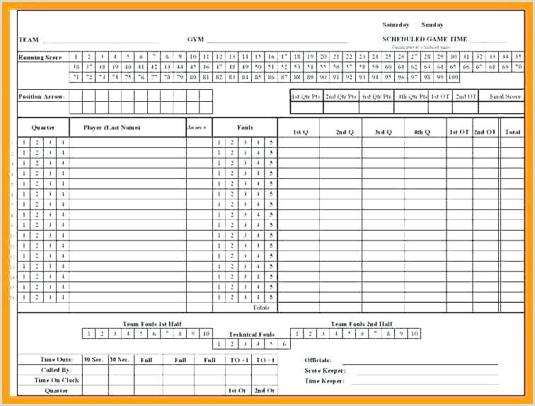 Basketball Score Sheet Template Excel Roster Scorecard