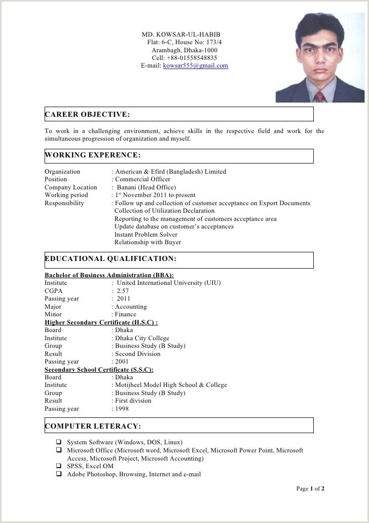 Bba Fresher Resume Format Doc Cv Template Bangladesh Bird