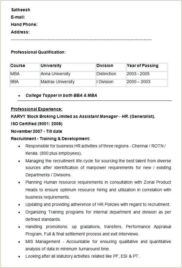 Bba Fresher Resume format Doc Hr Resume Templates Doc Free Premium Manager Template