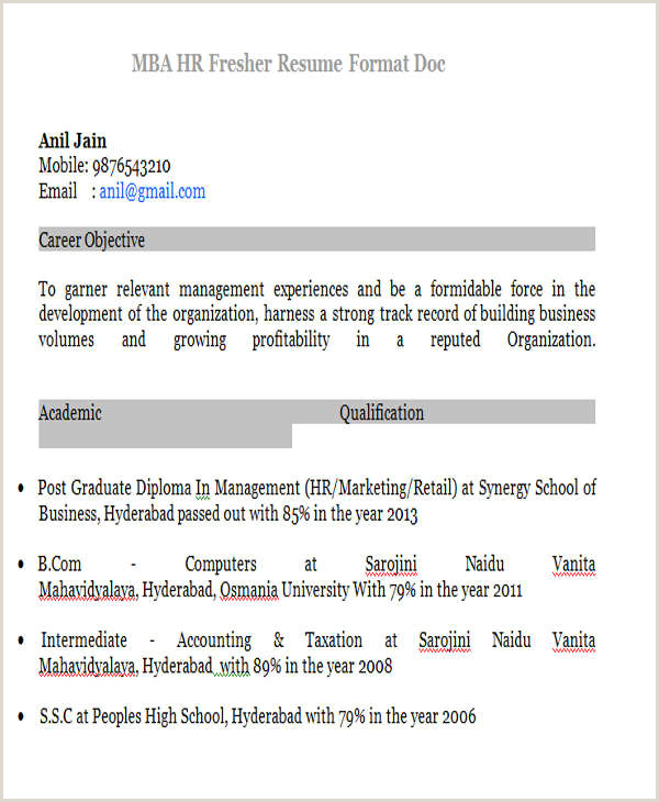 Bba Fresher Resume Format Doc Mba Fresher Resume Sample