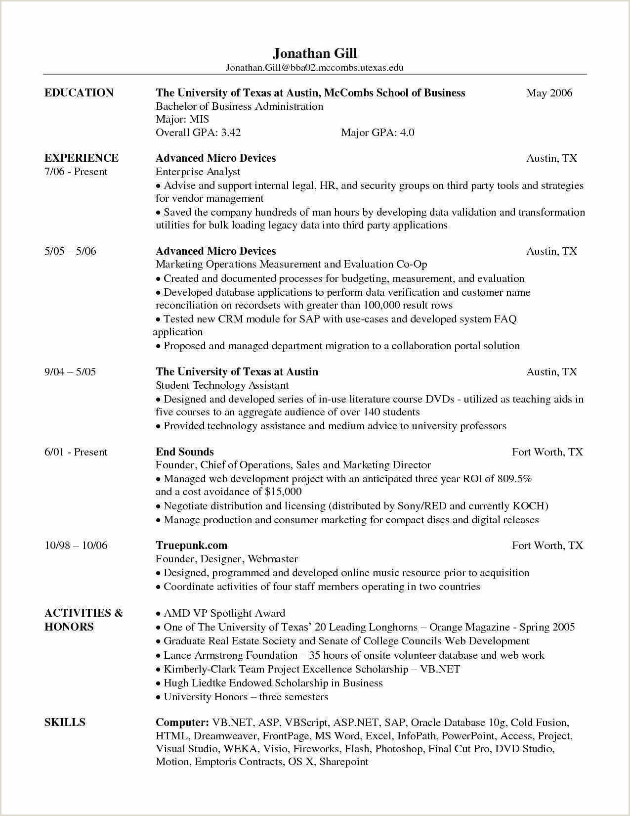 Bba Fresher Resume Format Doc Resume Format For Bba