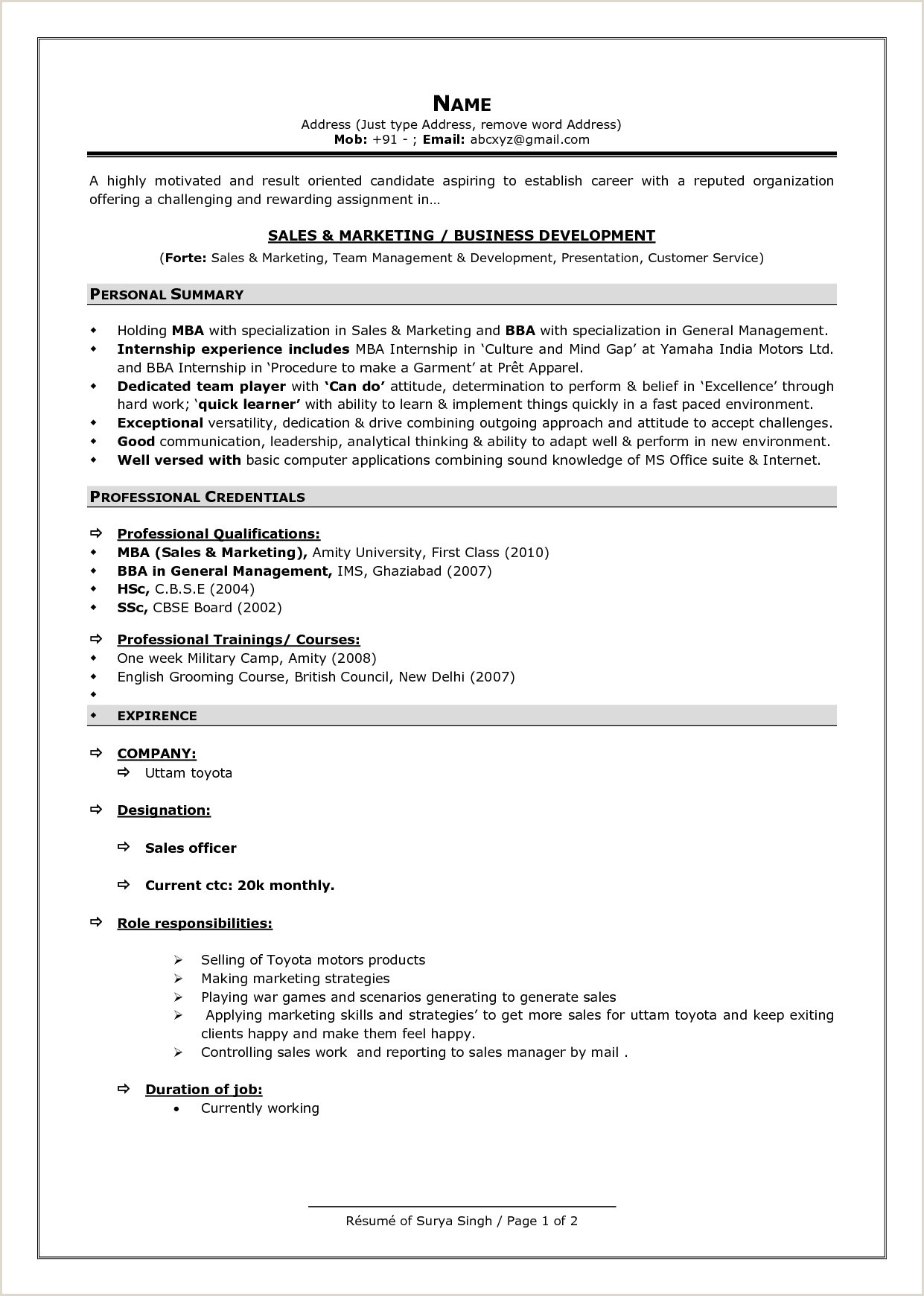 Bba Fresher Resume format Doc Resume format for Freshers Examples Mba Resume Template