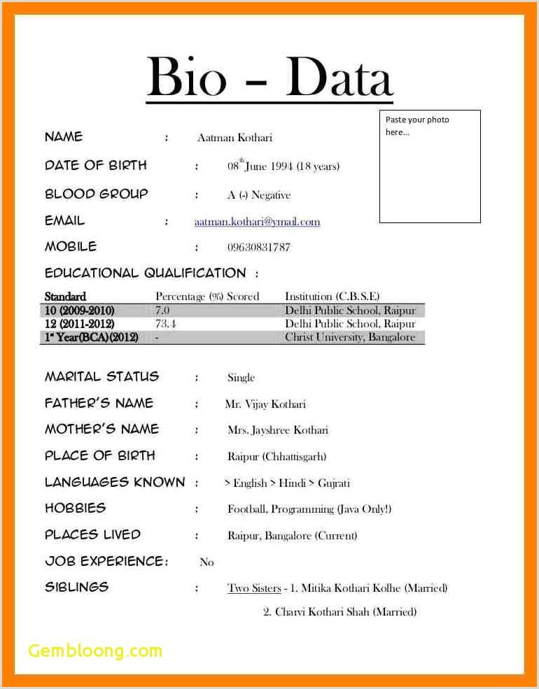 Bca Fresher Resume Format Download In Ms Word Biodata Format In Word File
