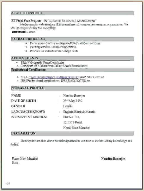 Bca Fresher Resume format Download In Ms Word Fresher Teacher Resume format Doc