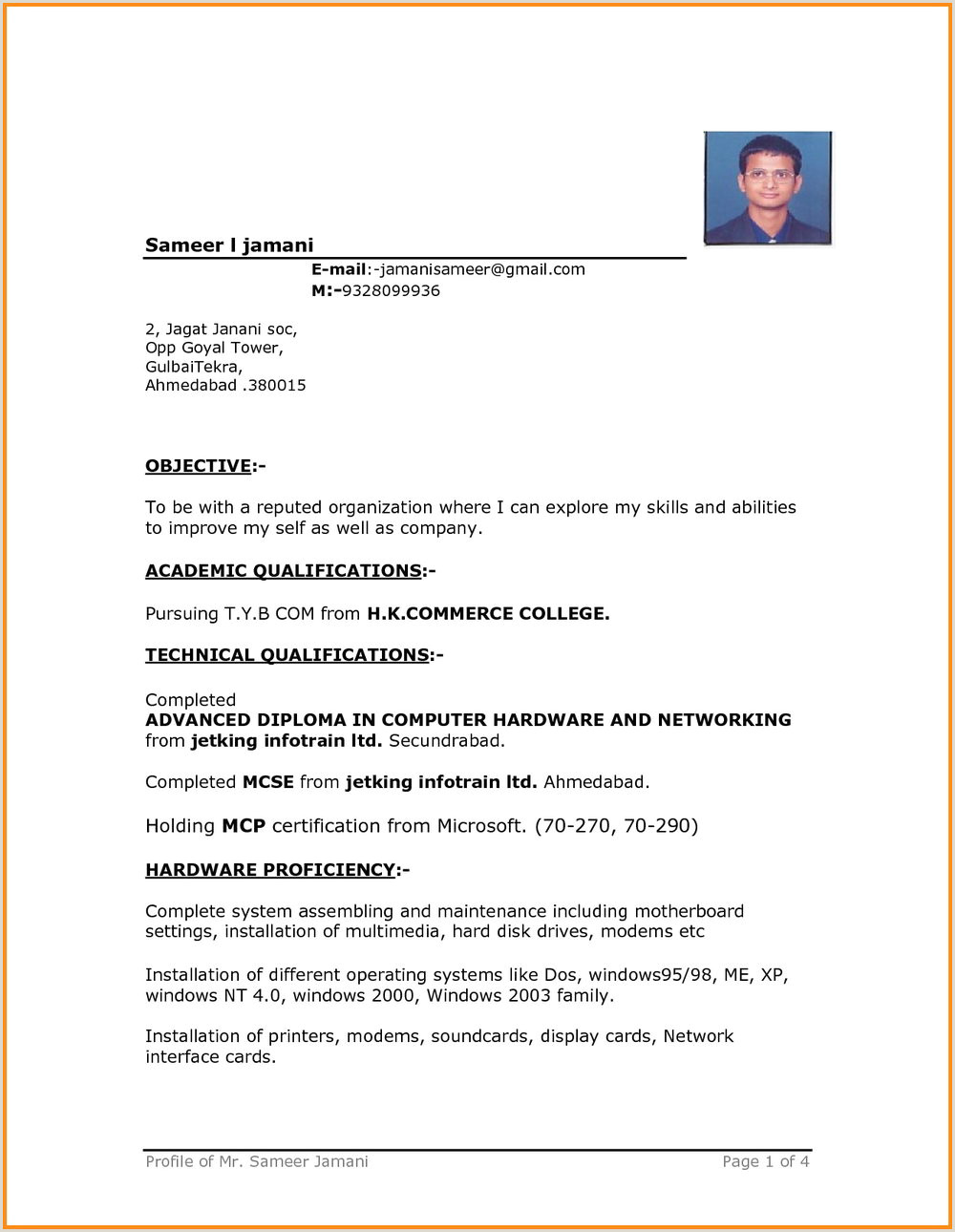 Bca Fresher Resume format In Word 10 Simple Resume formats for Freshers