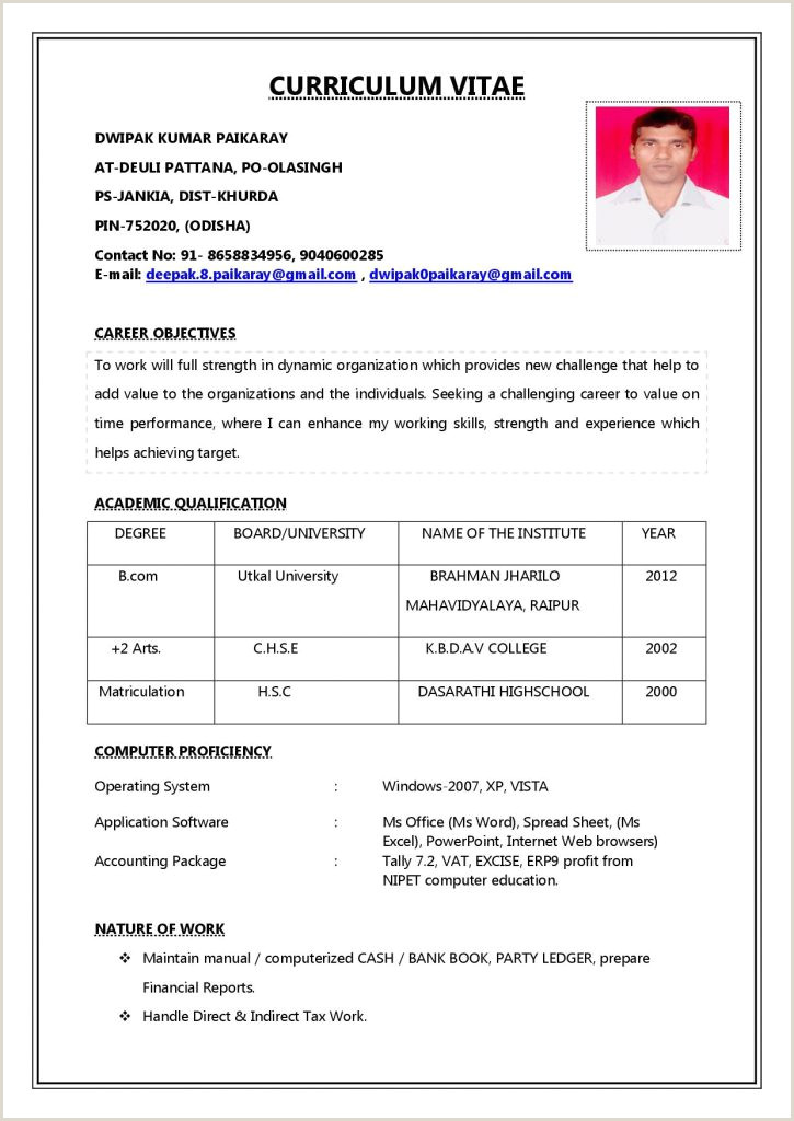 Bcom Fresher Resume format Download In Ms Word General Resume format Pdf