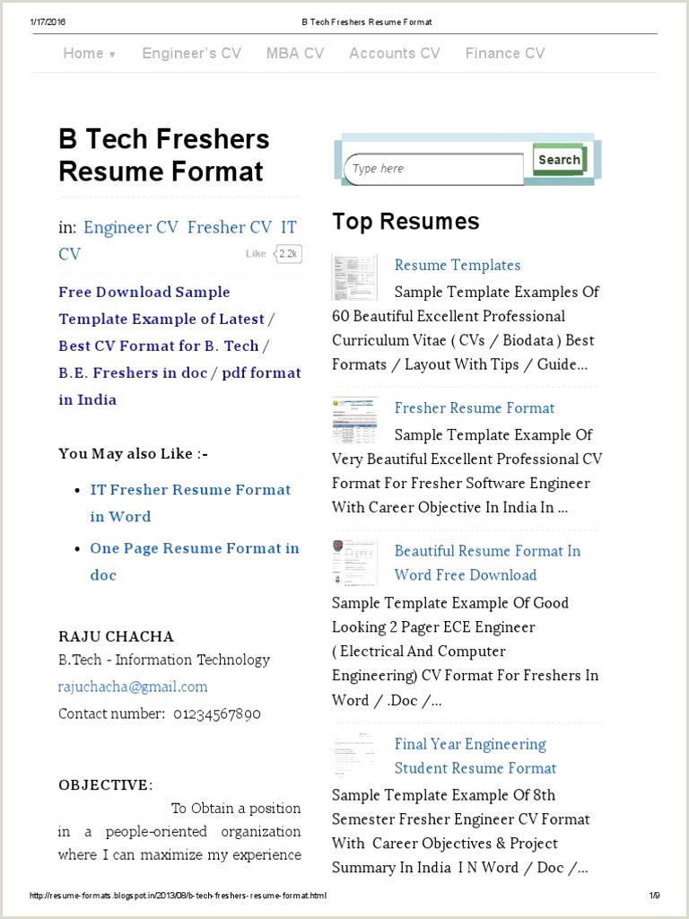 Be Fresher Resume format for Download Cv format Pdf India