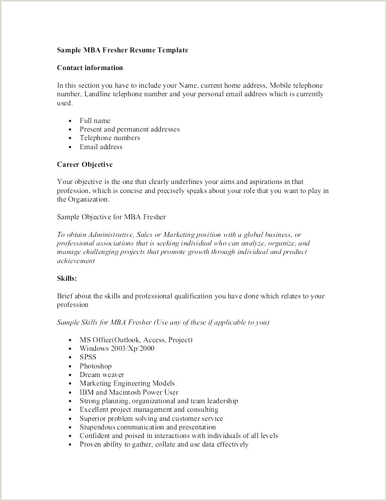 Best Fresher Resume format Doc Beautiful Mba Fresher Resume format Doc Resume Design