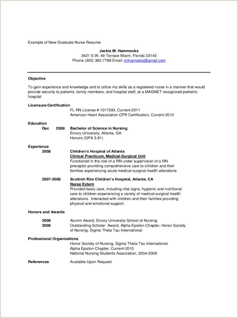 New Nursing Graduate Resume Leon Seattlebaby Co Samples Grad