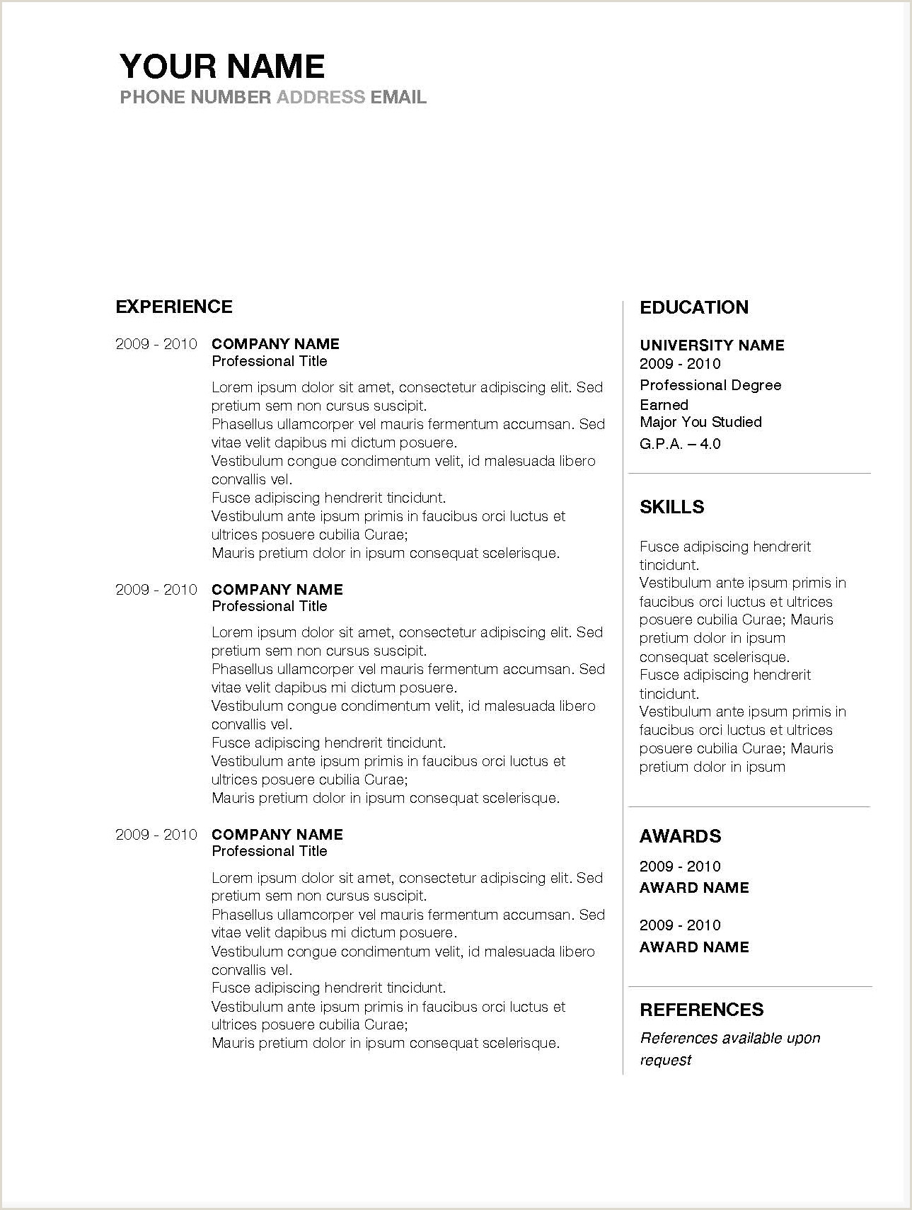 Best Microsoft Word Resume Template Free Inspirational Cv