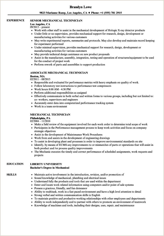 Mechanical Technician Resume Samples