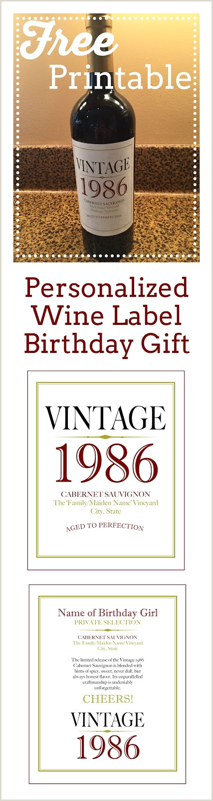 Free printable for Personalized Wine Label Birthday Gift