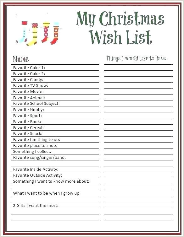 Birthday Wish List Template Printable Birthday Wish List Template