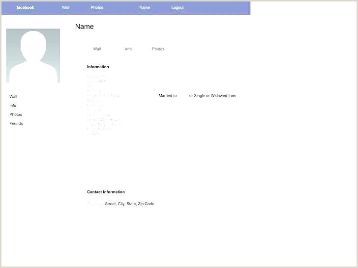Blank Facebook Template Download Create Info Page Template Like Profile