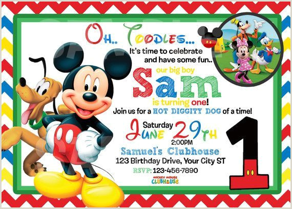 Blank Mickey Mouse Clubhouse Invitations Mickey Mouse 1st Birthday Invitations