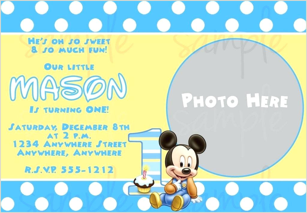 Blank Mickey Mouse Clubhouse Invitations Mickey Mouse 1st Birthday Invitations Template – Uniplatz