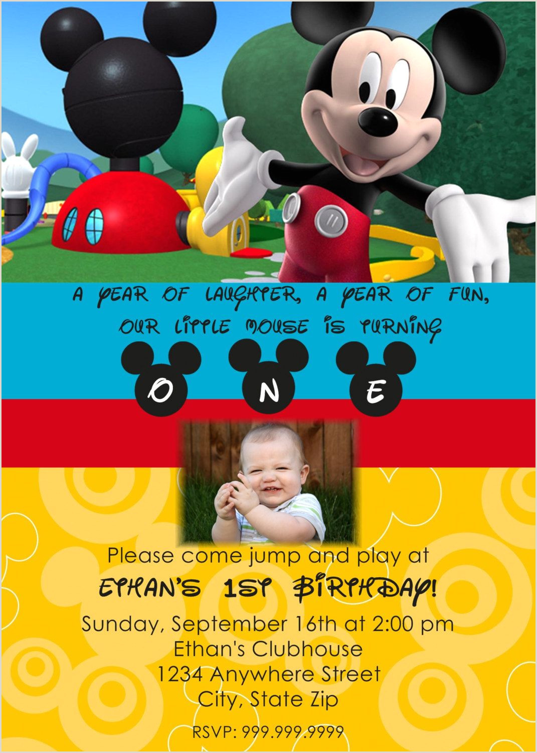 Blank Mickey Mouse Clubhouse Invitations Mickey Mouse Clubhouse Birthday Invitations Personalized