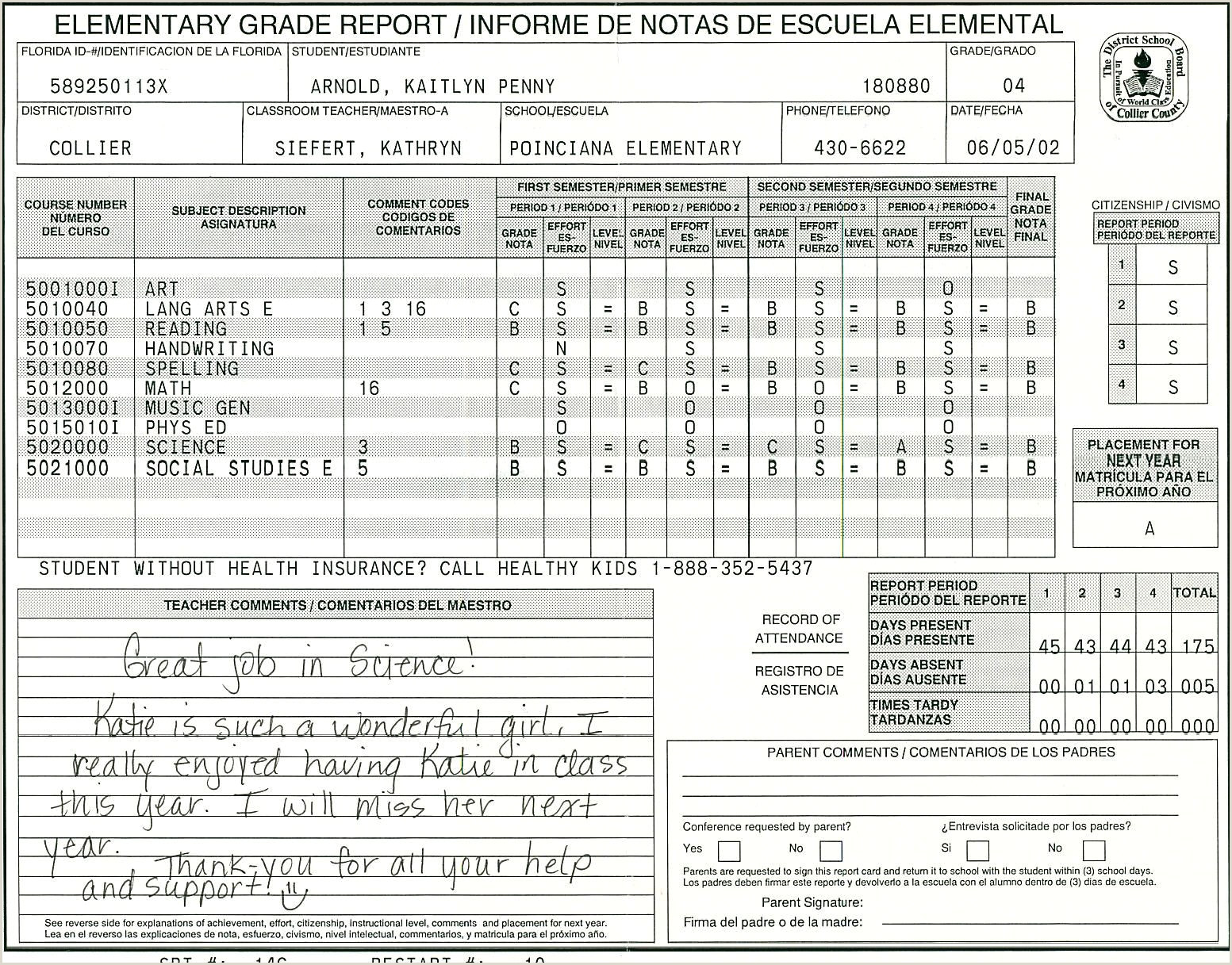 Blank Report Card Template Elementary School Report Card Template