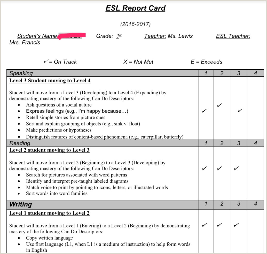 Blank Report Card Template Example Of Can Do Descriptor Reports for New Ers