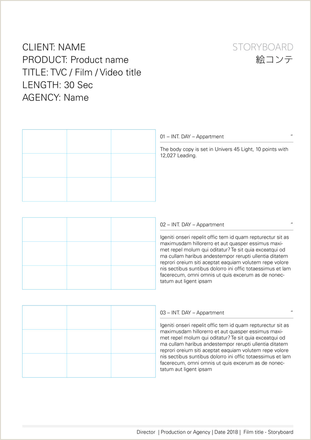 Free InDesign Storyboard template for advertising — format