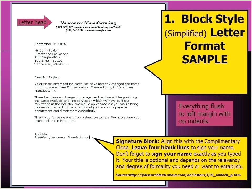 Modified Block Letter Template Simplified Format Sample 2