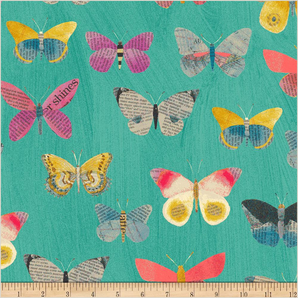 Blue butterfly Border Designs Carrie Bloomston Wonder Newspaper butterflies Aqua