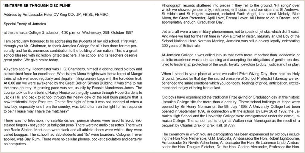 Bou Standard Cv format Old Boy S Speech – Jamaica College