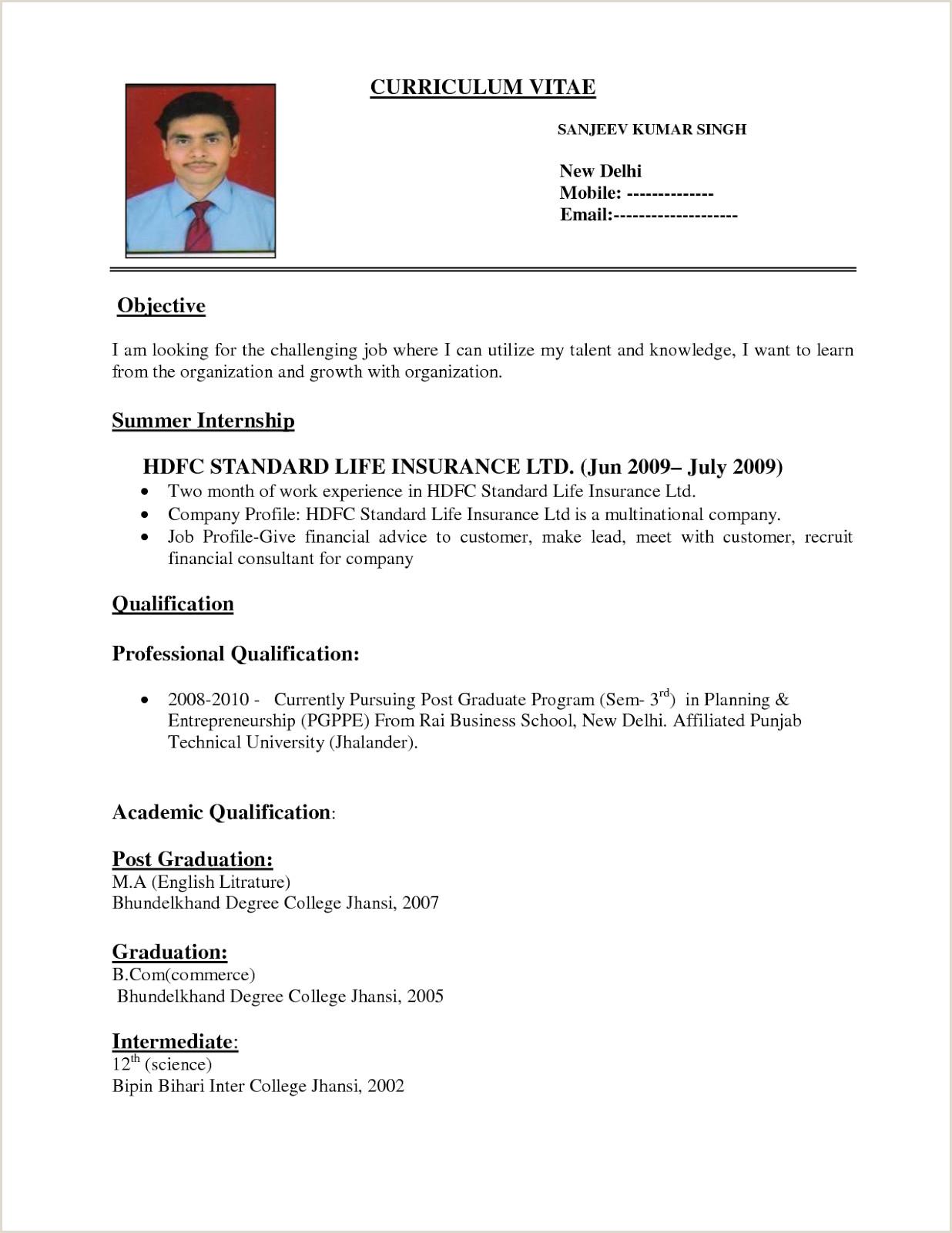Bou Standard Cv format Sample Resume format for Job Application