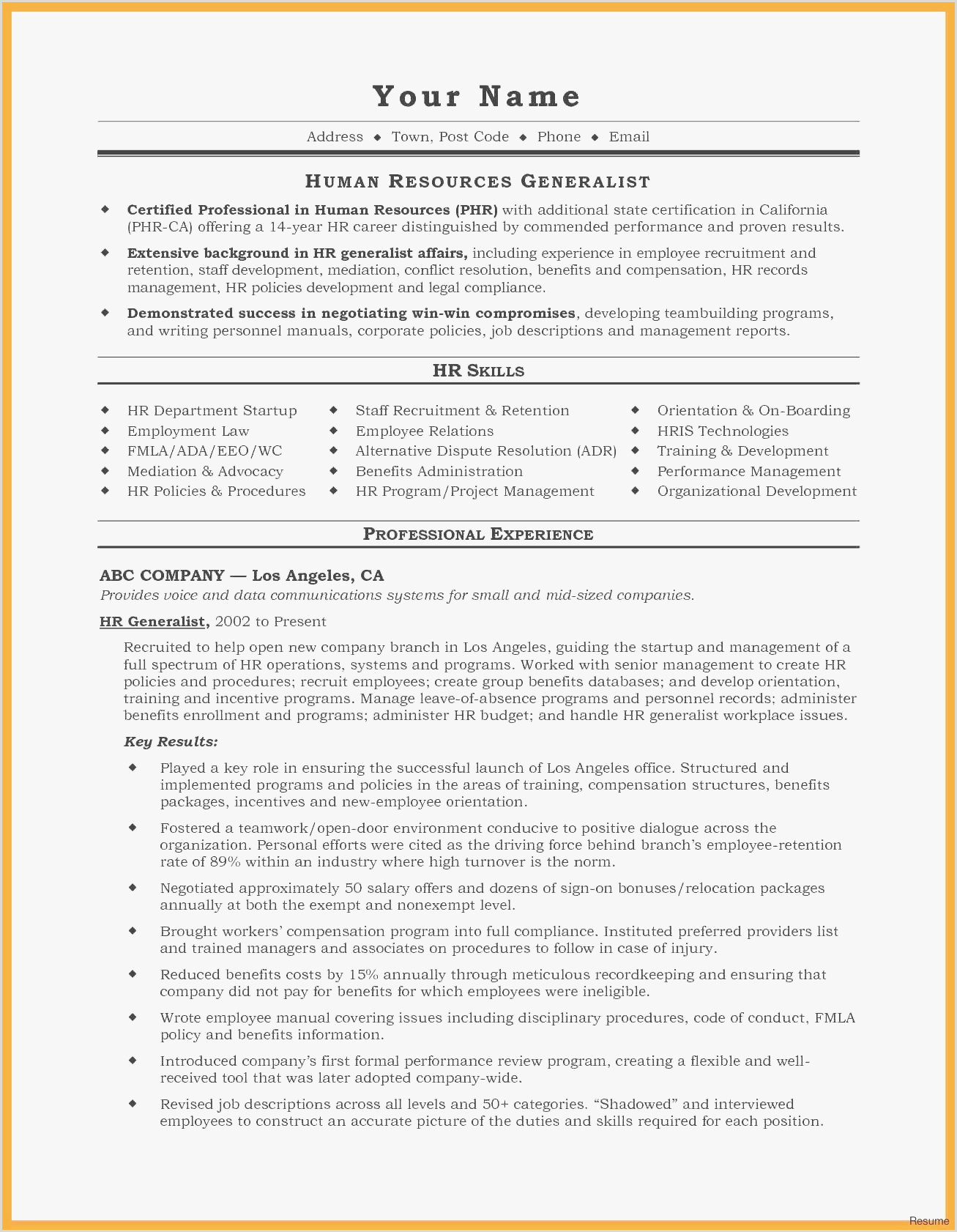 New Resume For Manager Position