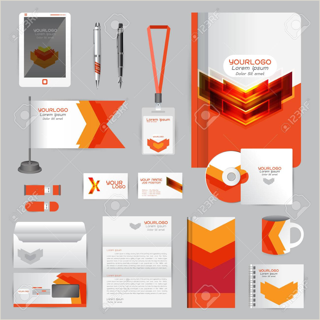 Brand Guidelines Book Template White Identity Template with orange origami Elements Pany