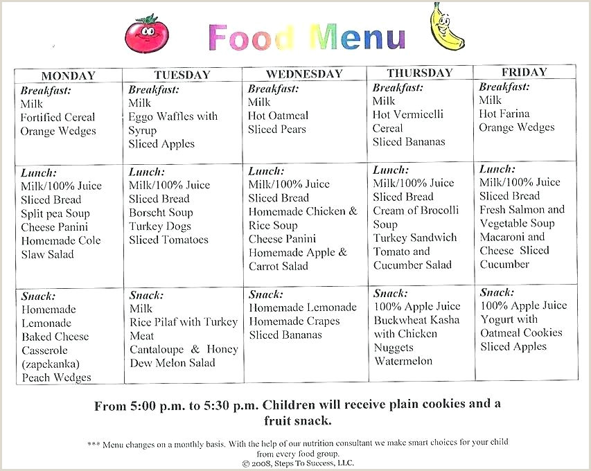 Breakfast Menu Template Free School Lunch Menu Template New Calendar Templates Bell Free